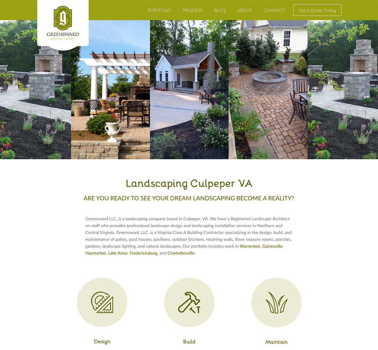Greensward Landscaping Website screenshot