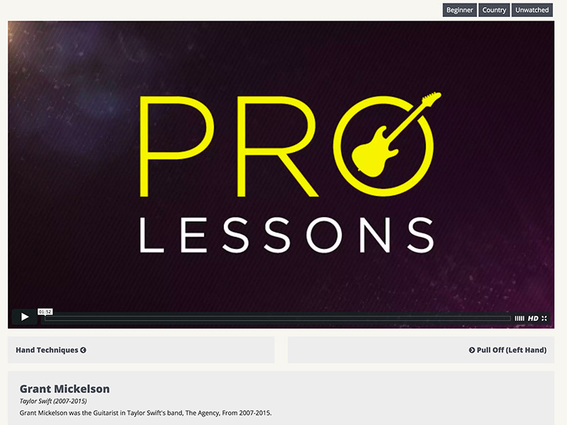 Pro Lessons Video Player